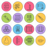 Set of winemaking, wine tasting icons Royalty Free Stock Photography