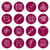 Set of winemaking, wine tasting icons. Set of winemaking and wine tasting icons in modern thin line style isolated on red background. High quality outline symbol Stock Photography