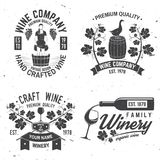 Set of winer company badge, sign or label. Vector illustration. Stock Photos