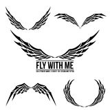 Set of wing emblem element for design Royalty Free Stock Photography