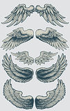 Wing Set 1. A set of wing pairs that can be implemented into other designs Royalty Free Stock Photos
