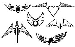 Set of wing symbols Royalty Free Stock Images
