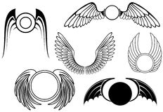 Set of wing symbols Royalty Free Stock Photography