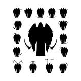 Set winged death with a scythe silhouette Royalty Free Stock Photography