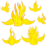 Set with winged fire Stock Photography
