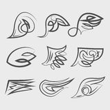 Set of Wings. Abstract Wings. Set of design elements. Vector illustration Royalty Free Stock Photos