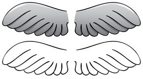 Set. Wings. Black outline and painted Stock Images