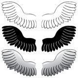Set. Wings. Black outline and painted Royalty Free Stock Photos