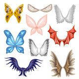 Set of wings butterfly, bird. Set of wings butterfly, bird and dragon, angel and wing with feather. Collection of vector decoration elements. Symbol of freedom Royalty Free Stock Images