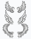 Set of wings. Collection of black-and-white wings for clipart. Abstract angel wings. Tattoo. Vector illustration. Stock Image