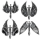 Set of Wings and Swords Stock Image
