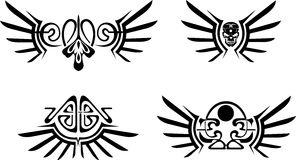 Set of  wings tribal tattoos. Royalty Free Stock Photography