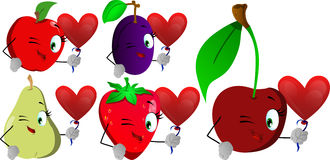 Set of winking fruits with heart balloon Stock Image