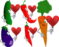Set of winking vegetables with heart balloon Stock Photography