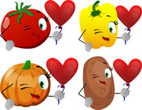 Set of winking vegetables with heart balloon Royalty Free Stock Photos