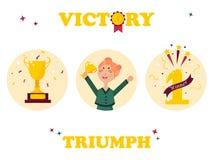 Set of winner badges. Girl with golden trophy. Set of winner tags and badges. Girl holding winning trophy, golden goblet, first place sign Stock Images