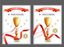 Set of Winner Certificate with Trophy Cup and Red Ribbon. Diploma For the First Place. Vector Template. Royalty Free Stock Image