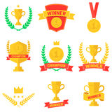 Set of winner, champion labels and badges.  Stock Photo
