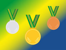 Set of winner medals with brazil ribbon  on flag.Flat style. Royalty Free Stock Images