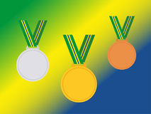 Set of winner medals with brazil ribbon isolated on flag.Flat style. Stock Photos