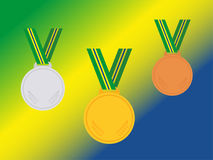 Set of winner medals with brazil ribbon isolated on flag.Flat style. Stock Photo