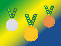 Set of winner medals with brazil ribbon isolated on flag.Flat style. Stock Images