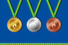 Set of winner medals with colors of brazil ribbon.   Royalty Free Stock Photo