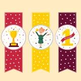 Set of winner`s banners Girl with trophy. Set of winner`s banners, bookmarks. Girl holding winning trophy, golden goblet, medal Stock Photos