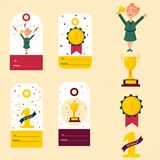 Set of winner tags, badges. Girl with golden cup. Set of winner tags and badges. Girl holding winning trophy, golden goblet, medal Royalty Free Stock Photo