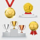 Set of winner trophy. Prize template. Medal and podium. Vector royalty free illustration