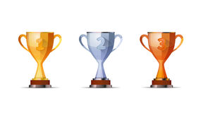 Set of winners award for first, second and third. Cups of winners award for first, second and third winners position Stock Images
