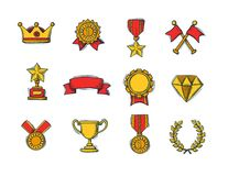 Set of winners color handdrawn icons. Goblet, medal and wreath, race flags and belt and sertificate. Vector Illustration Royalty Free Stock Photos