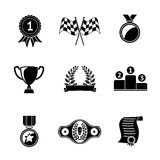 Set of winners icons - goblet, medal, wreath, race Stock Photos