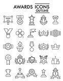 Set of winning, awards vector line simple icons. Contains such Icons as Laurel Branch, Reward, Achievement and more Royalty Free Stock Photos