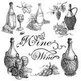 Set wino baryłki i butelki winogrona Fotografia Stock