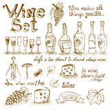 Set wino elementy Zdjęcie Stock