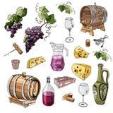 Set wino produktu przedmioty Ręka rysujący atrament i barwiący nakreślenie elementy odizolowywający na białym tle ilustracja wektor