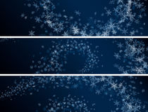 Set of winter abstract snowflakes banners. Stock Photo