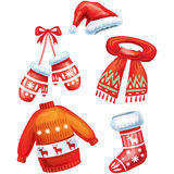 Set of winter accessories Stock Images