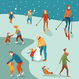 Set of winter activities. Set of Illustrations, winter activities: skating, skiing, sledging, snowballing, snowman. Happy people doing sport Royalty Free Stock Image