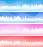 Set of winter backgrounds with forest. stock illustration