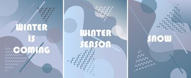 Set of winter backgrounds with gradients,shapes and geometric vector illustration