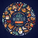 Set of Winter cartoon doodle objects, symbols and items. Colorful vector hand drawn set of Winter cartoon doodle objects, symbols and items. Round frame Royalty Free Stock Photos