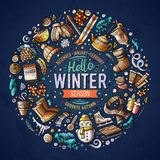 Set of Winter cartoon doodle objects, symbols and items Stock Photos