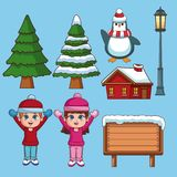 Set of winter cartoons. Collection vector illustration graphic design vector illustration