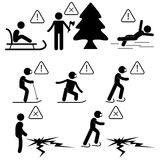 Set of Winter Caution & Danger Information Flat Black Pictograms Icon Sign Symbol Stock Photography