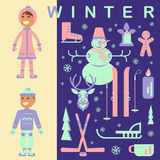 Set of winter children clothes Stock Images