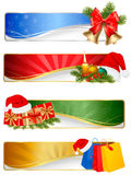Set of winter christmas backgrounds. Vector illustration Stock Photos