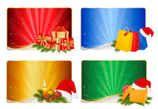 Set of winter christmas backgrounds. Vector illustration Stock Images