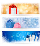 Set of winter christmas banners Royalty Free Stock Photo